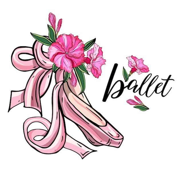 長いリボンと美しい手描きのピンクの尖った靴