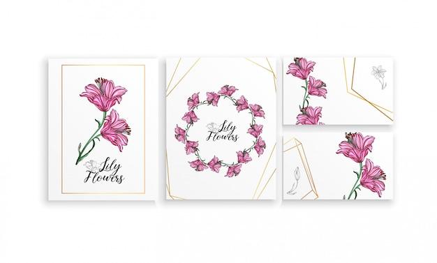 Набор открыток постеров с цветами лилии