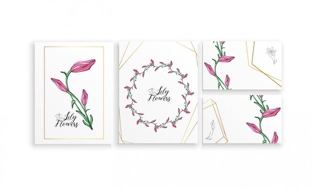 ユリの花とはがきポスターのセット