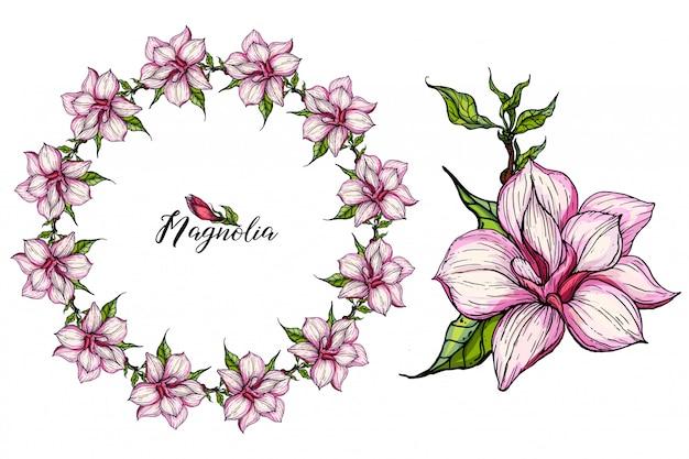 Набор цветочных композиций с цветами магнолии