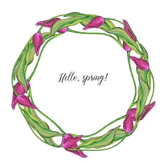 Круглый венок из векторных цветных тюльпанов, весенних цветов