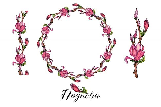 Композиция с цветами магнолии