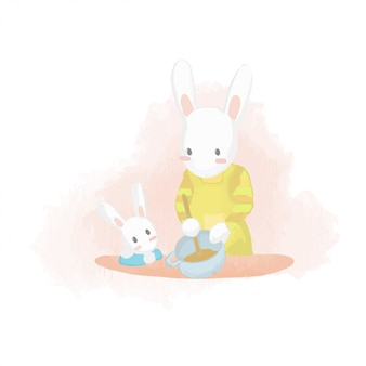 子供と一緒に料理するママのウサギを描く