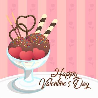 バレンタインカードテンプレートスウィートサンデーアイスクリームハートシェイターチョコレートポッキー