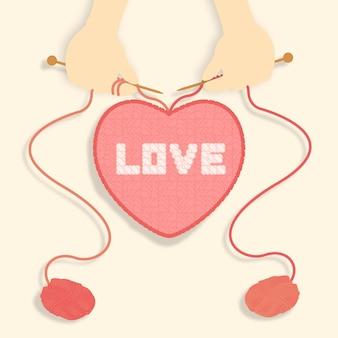 Теплая вязаная любовь вязаная вручную валентинка