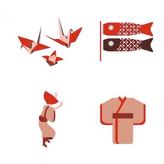 Японские традиционные оригами и танцовщица носят кимоно вектор