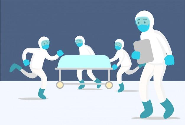 Чрезвычайная вспышка с командой врачей и медсестер в голубом
