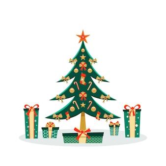 Рождественская открытка с украшенным деревом и зелеными подарочными коробками
