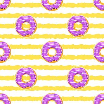 艶をかけられたドーナツ、シームレスな夏のパターン
