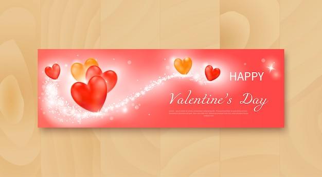 Флаер на день святого валентина с реалистичными красными и желтыми сердечками