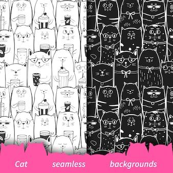黒と白の猫とのシームレスなパターンのセット