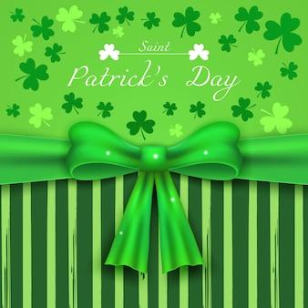 День святого патрика, зеленый фон с трилистниками и реалистичным бантом