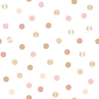キラキラゴールドの水玉模様のシームレスパターン