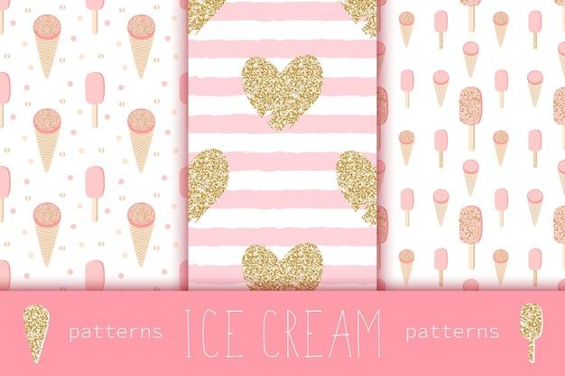 ゴールドハートとアイスクリームのグラマーシームレスパターン