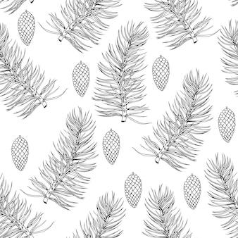 モミの木の枝とのクリスマスのパターン