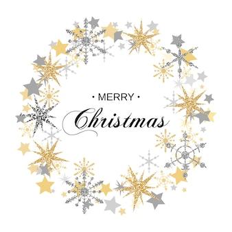 きらびやかな雪のクリスマスリース