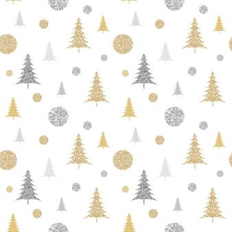 モミの木とキラキラクリスマスパターン