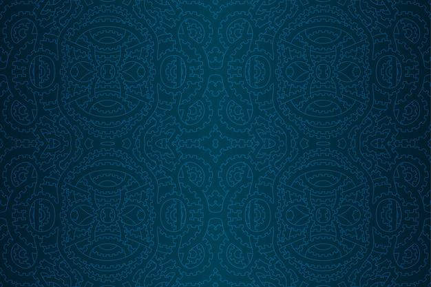 歯車と青いスチームパンクシームレスパターン