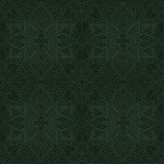 線形緑のシームレスな花柄のアート