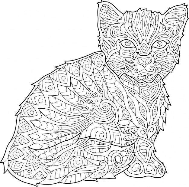 Страница раскраски для взрослых с кошкой на белом фоне