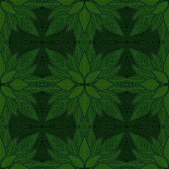 葉と緑の花のシームレスな線形パターン