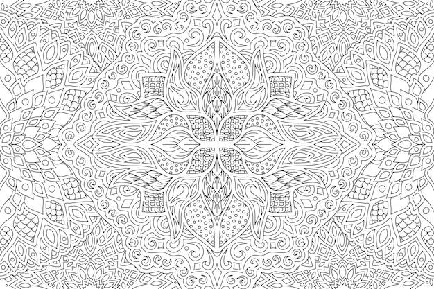 線形のシームレスなパターンを持つ大人の着色本ページ