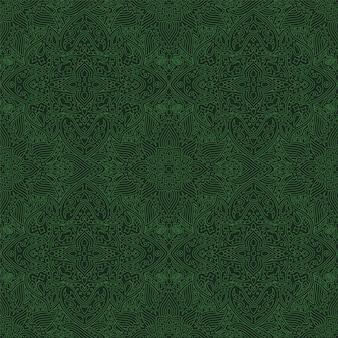 緑のシームレスパターンと抽象的な線形アート