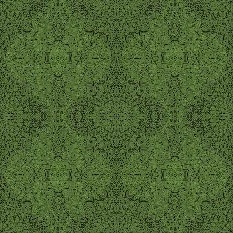 抽象的な線形のシームレスなパターンを持つ緑の芸術