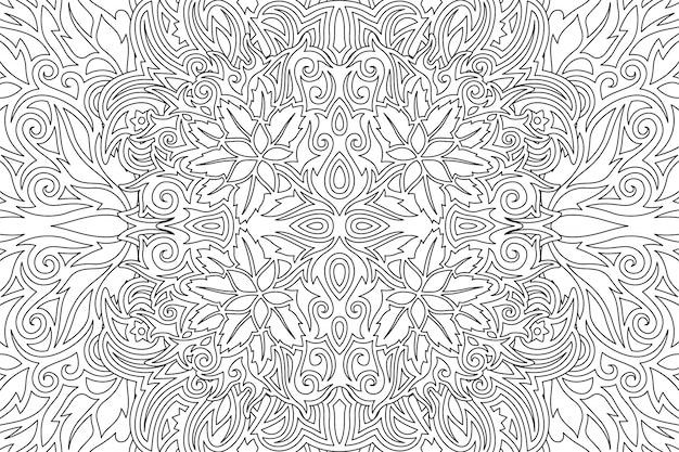 線形花柄の黒と白のアート
