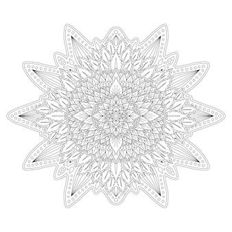 本ページを着色するための黒と白の花アート