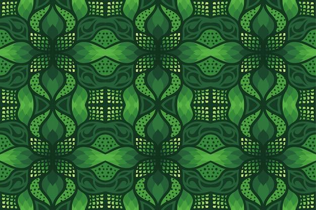 幾何学的な抽象的なシームレスパターンとグリーンアート
