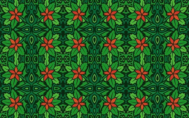 赤い花と緑のシームレスな花柄