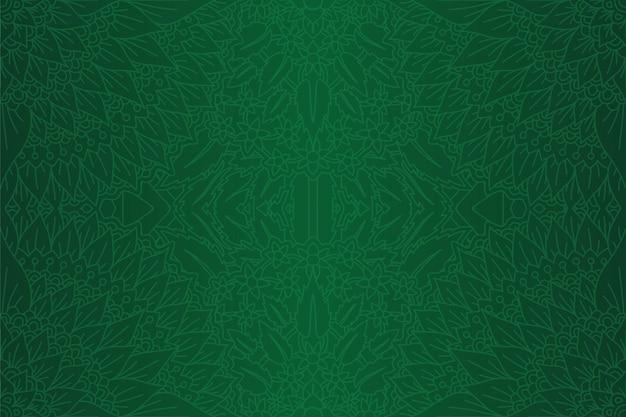線形のシームレスな花柄のグリーンアート