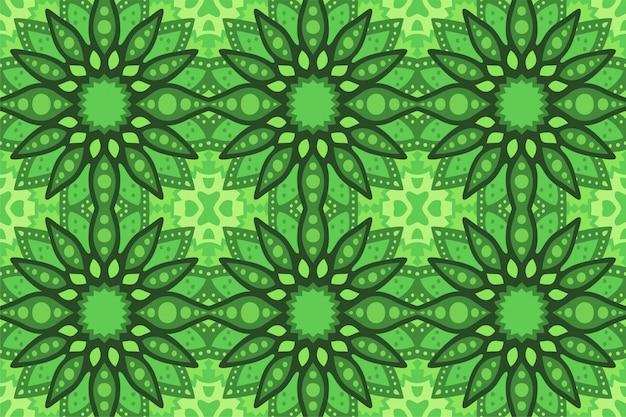正方形の抽象的なシームレスパターンと緑の芸術