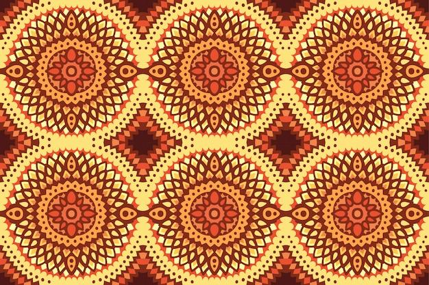 太陽の輪のシームレスなパターンを持つ装飾芸術