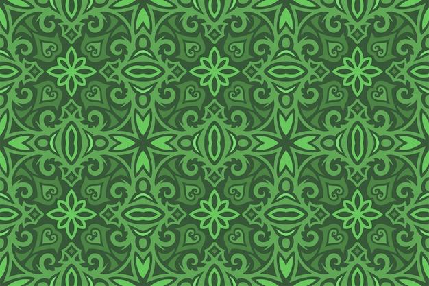 緑の中世のシームレスなパターンを持つヴィンテージアート