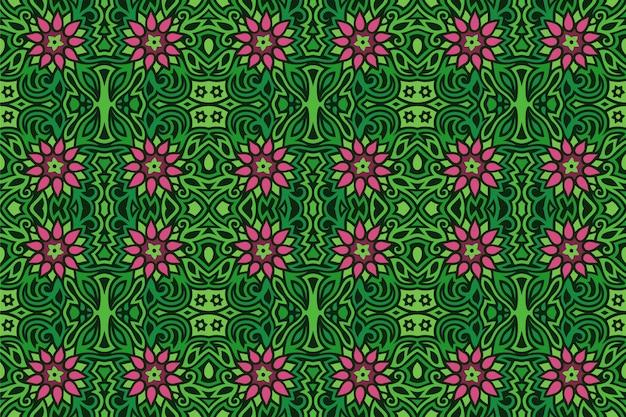 ピンクの花とのシームレスな緑花柄