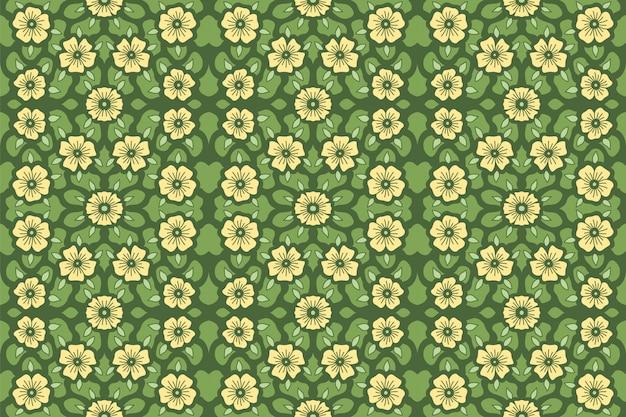 緑の背景に黄色の花のパターン