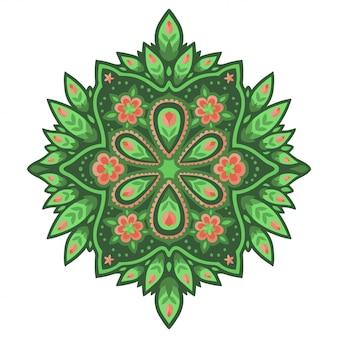 緑のパターンにピンクの花のアート