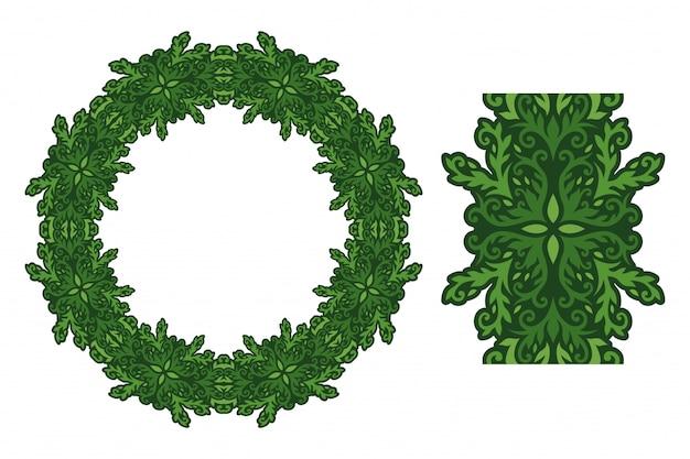 緑の丸い模様とペイントブラシのアート