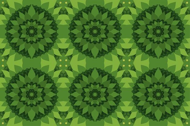 シームレスな花柄の緑の抽象芸術