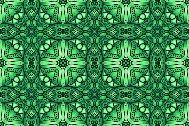 抽象的なシームレスパターンと緑のカラフルなアート