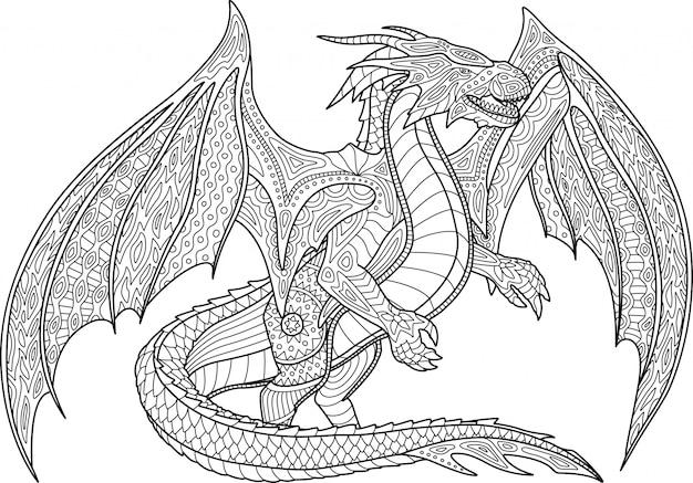 Страница раскраски с драконом на белом фоне