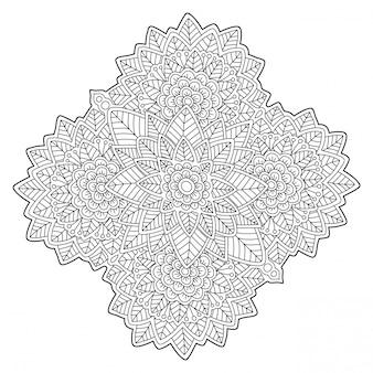 線形花柄の塗り絵のページ