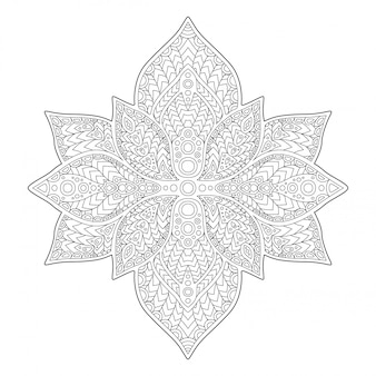 白い背景の上の美しい花の白黒パターン