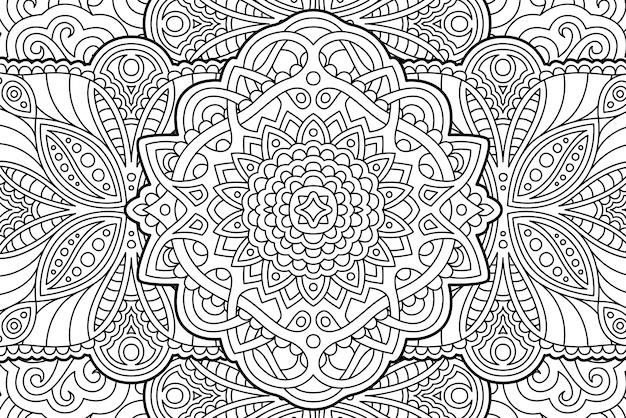 ぬりえ帳ページ抽象的な線形