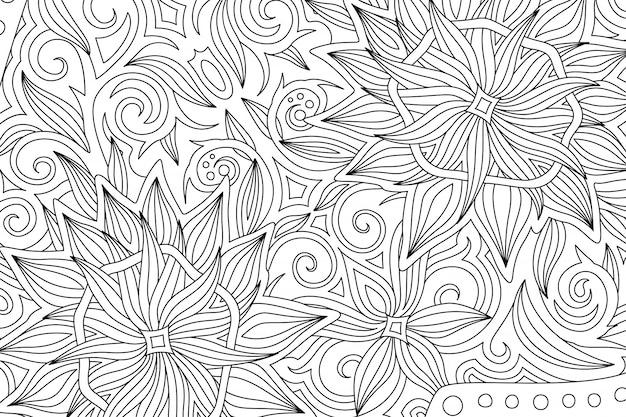 モノクロの花柄の本ページを着色する