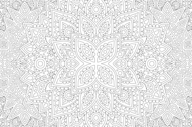 線形の抽象的なパターンが付いている本ページを着色