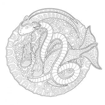 Черно-белый дзен арт с козерогом