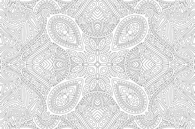 線形白黒の詳細パターンを持つ禅アート